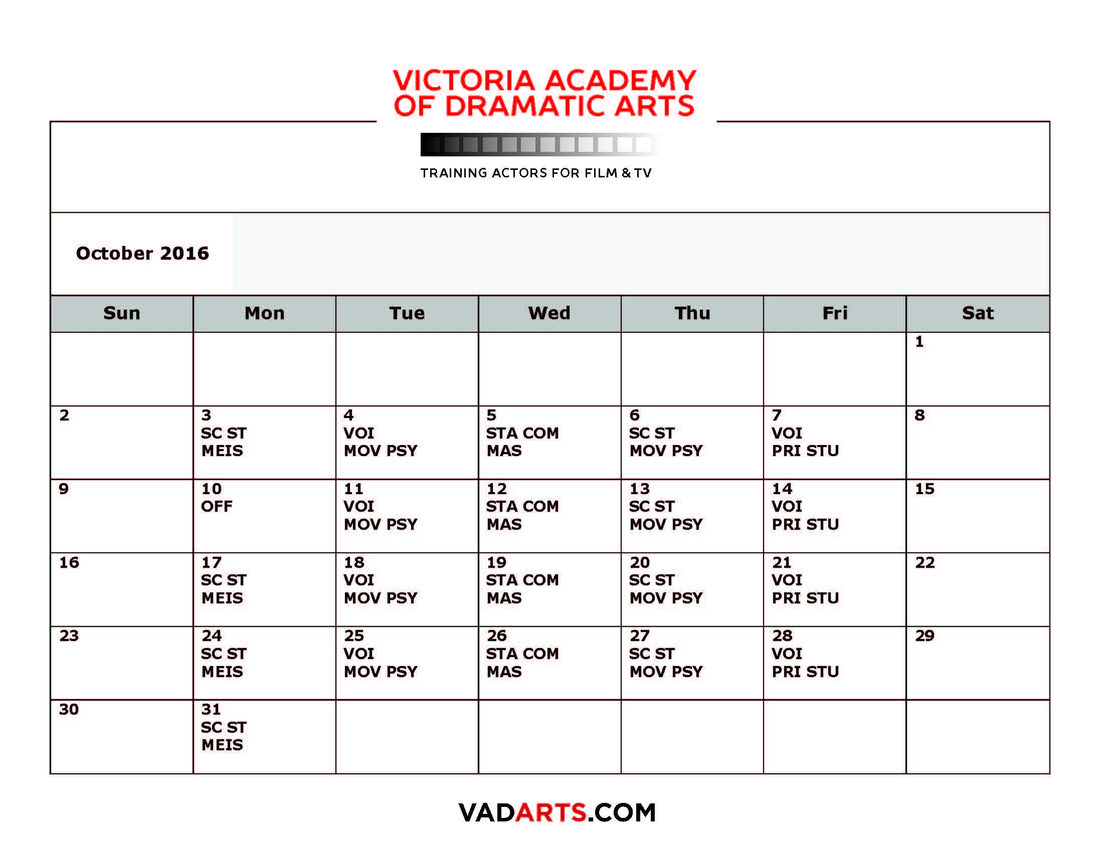 2016/17 Course Calendar, VAD Arts, Acting for Film and TV, Acting classes